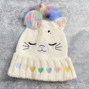 Under One Sky White Rainbow Cat Unicorn Beanie S